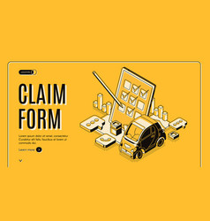 Claim form for car insurance isometric banner vector