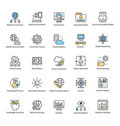 collection data science flat icons vector image