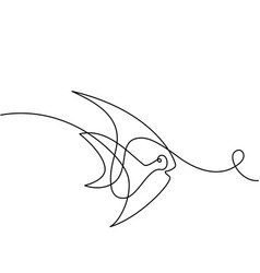 continuous line exotic fish logo vector image