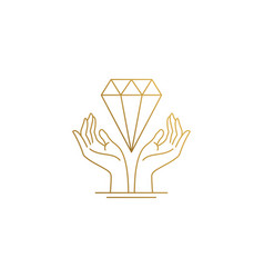 design hands with diamond hand drawn vector image