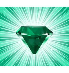 Diamond on a green background vector image