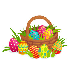 easter decorated eggs in wicker basket colorful vector image