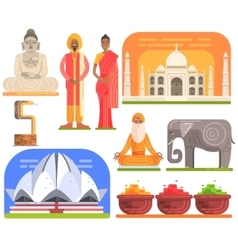 Famous Touristic Attractions To See In India vector