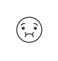 Feeling sick emoji concept line editable vector