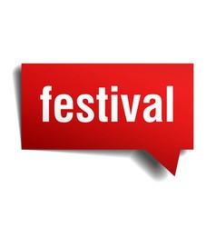 festival red 3d speech bubble vector image