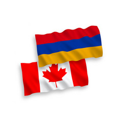 Flags canada and armenia on a white background vector