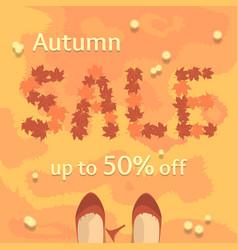 flat autumn sale banner poster flyer vector image