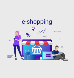 flat design banner of e-shopping for website and vector image