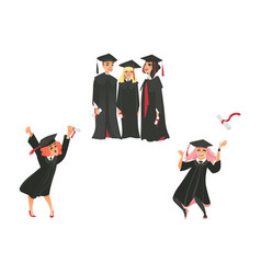 Flat graduate people celebrating vector