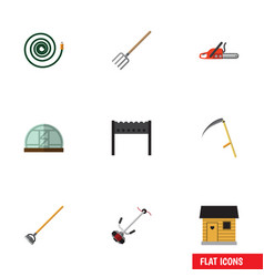 Flat icon dacha set of grass-cutter barbecue vector
