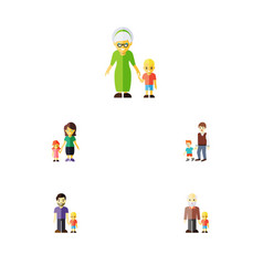 Flat icon people set of son grandson grandma vector
