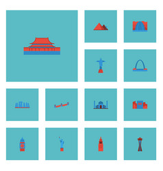 Flat icons china beijing india mosque and other vector