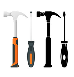 Flat iron hammer icons isolated on a white vector