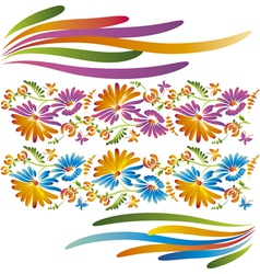 folkstyle flowers vector image