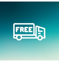 Free delivery van thin line icon vector image