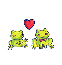 frogs in love color cartoon characters vector image