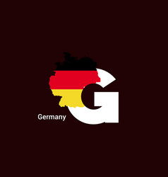 Germany initial letter country with map and flag vector