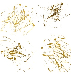 Gold splatter paint abstract on white background vector