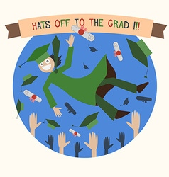 Graduation Happy Student Caps and Diploma Tossing vector image