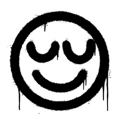 graffiti smiling face emoticon sprayed isolated vector image