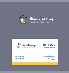 Grave logo design with business card template vector