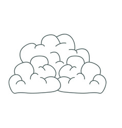 Gray hand drawing silhouette of cumulus clouds vector