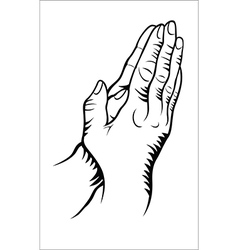 Hand praying vector