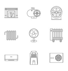 Heating con icon set outline style vector