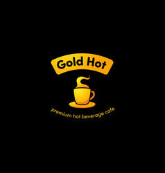 Hot gold cup coffee logo icon with gradient gold vector