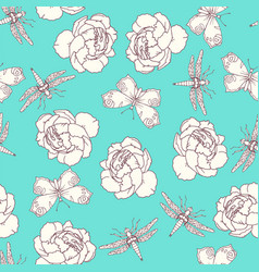 insects and peony seamless pattern on white vector image