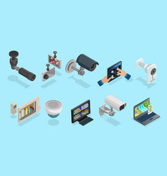 isometric cctv elements collection vector image