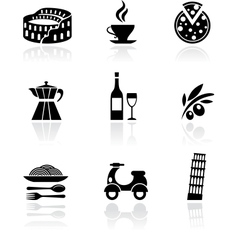 Italy icons - black vector image