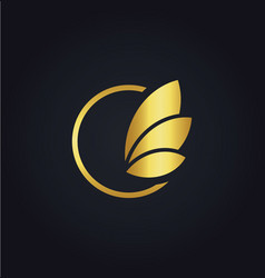 leaf round sign gold logo vector image