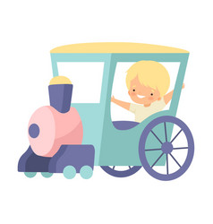 Little boy riding a real toy train happy kid vector