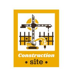 Logo construction site big crane an vector