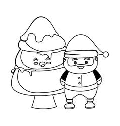 Merry christmas santa claus kawaii character vector