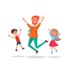 merry father and kids jumping of fun isolated vector image