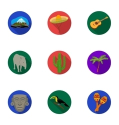 Mexico country set icons in flat style Big vector image