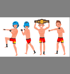 mma male player poses set muscular sports vector image
