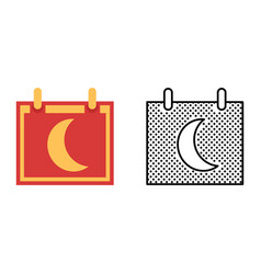 moon calendar icon set synodic month vector image