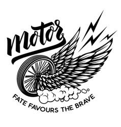 motor racer winged wheel design element vector image