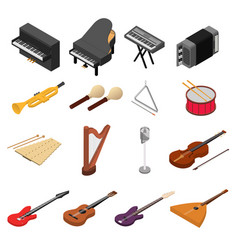 Music instruments color icons set isometric view vector