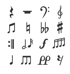 Music notes symbols set vector image