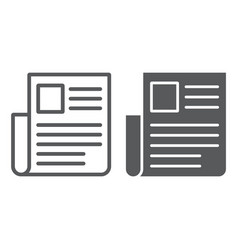 Newspaper line and glyph icon news and newsletter vector