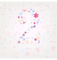 Number 2 floral vector