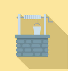 Old stone water well icon flat style vector