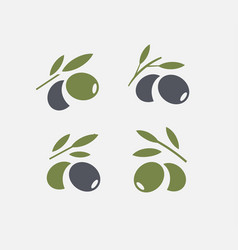 olive logo set black ripe and green olive branch vector image