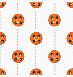pattern with orange buttons and stitches vector image