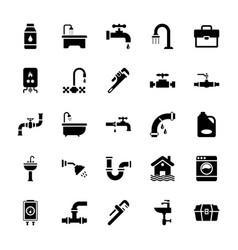 Plumbing glyph icons set vector