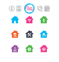Real estate icons home insurance sign vector